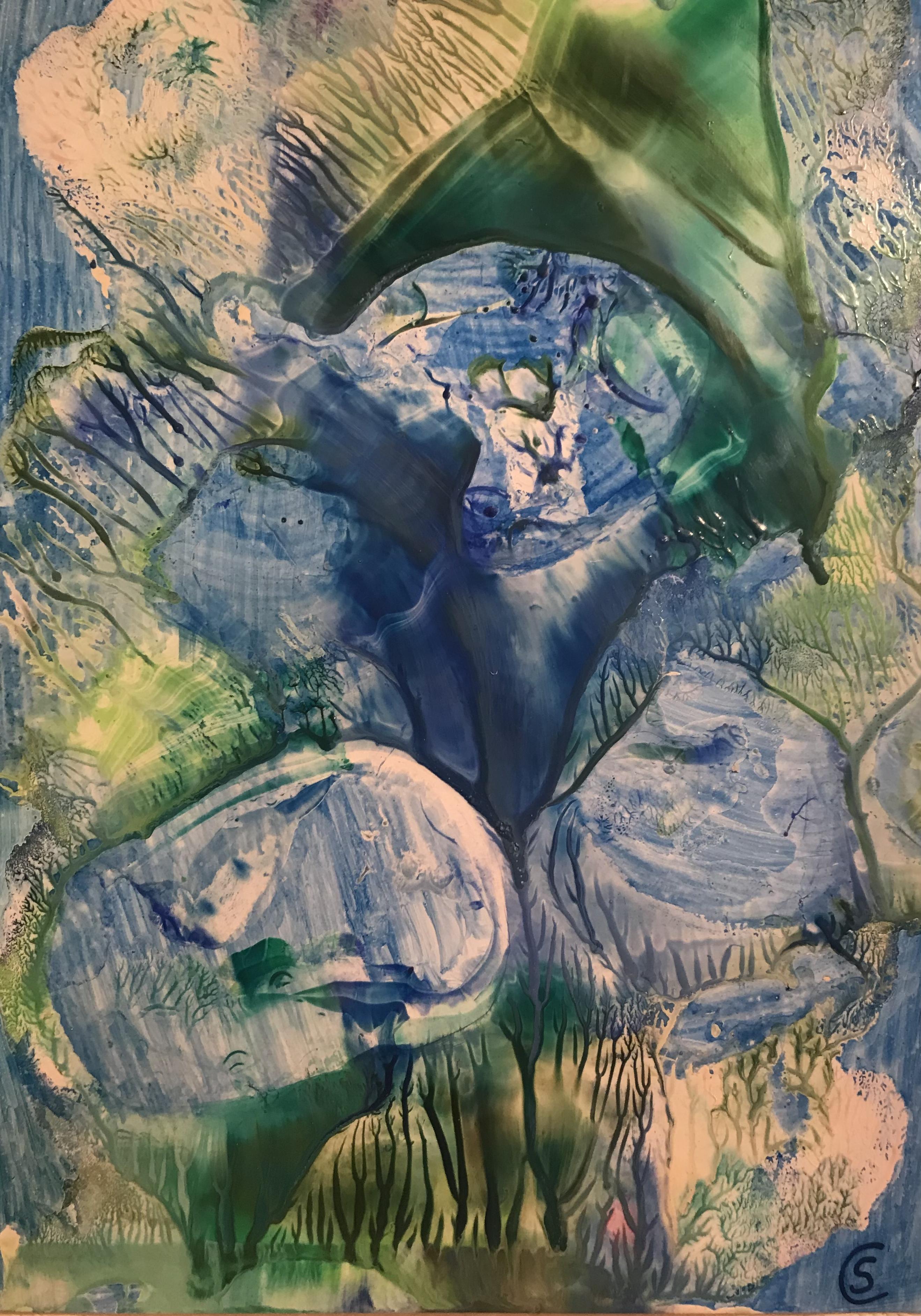 Submerged, Encaustic on paper, 21x30