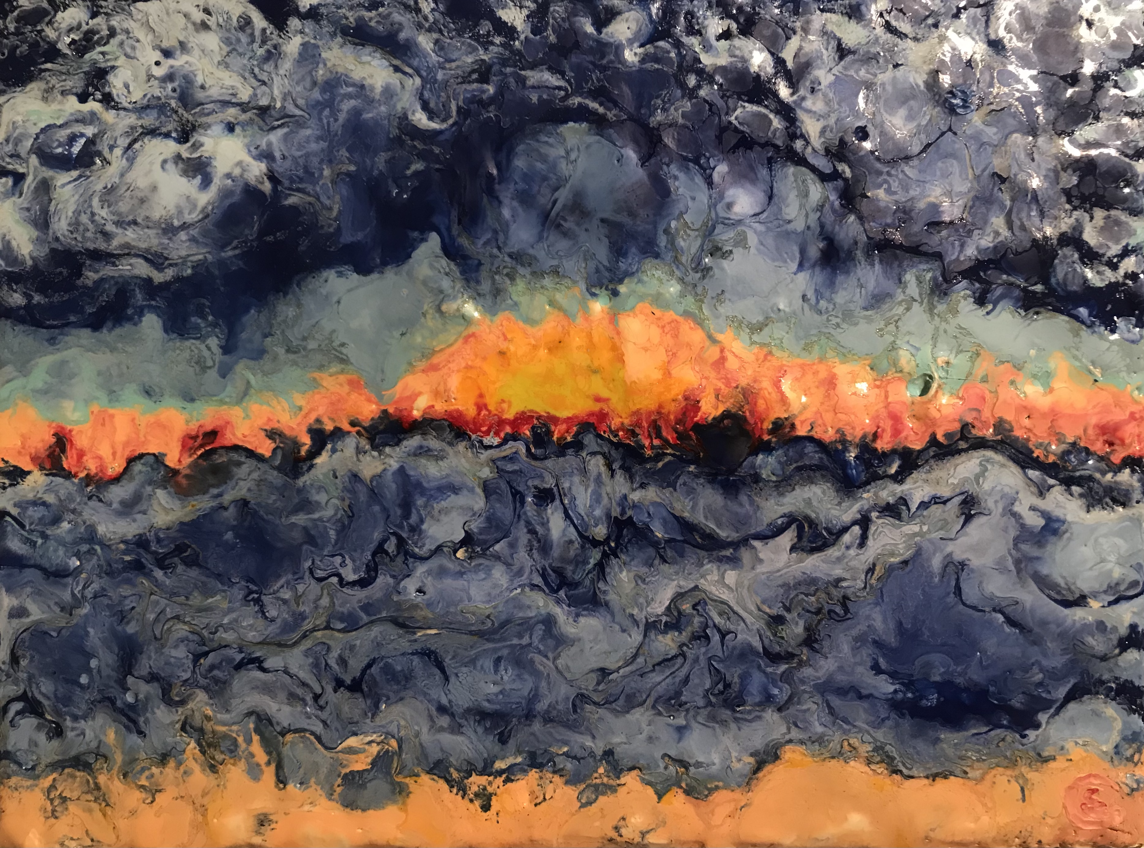 Winter Blues, Encaustic on canvas, 17.5x24