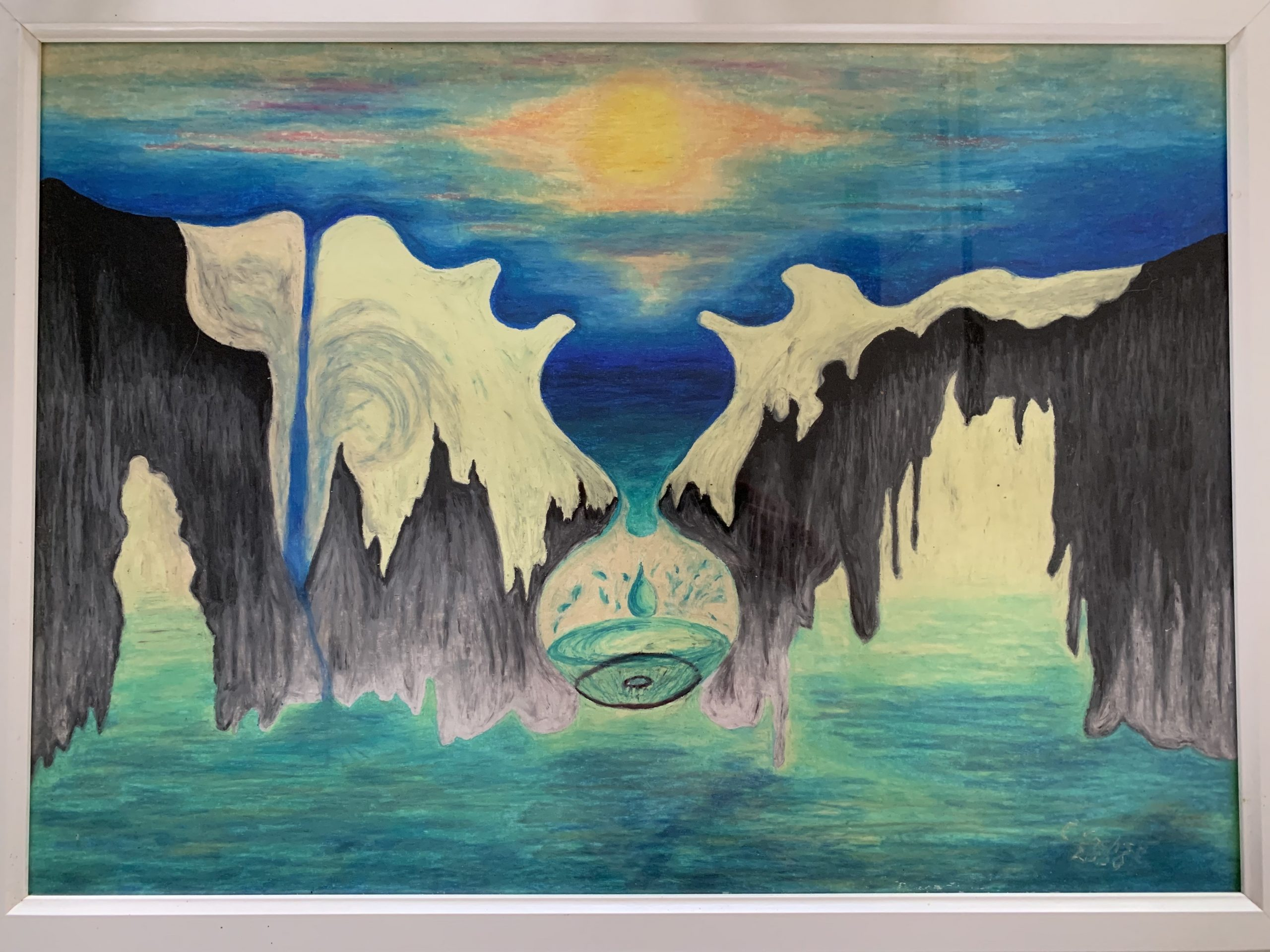 Waterworld 2000, Wachsmalkreide, wax crayon on paper