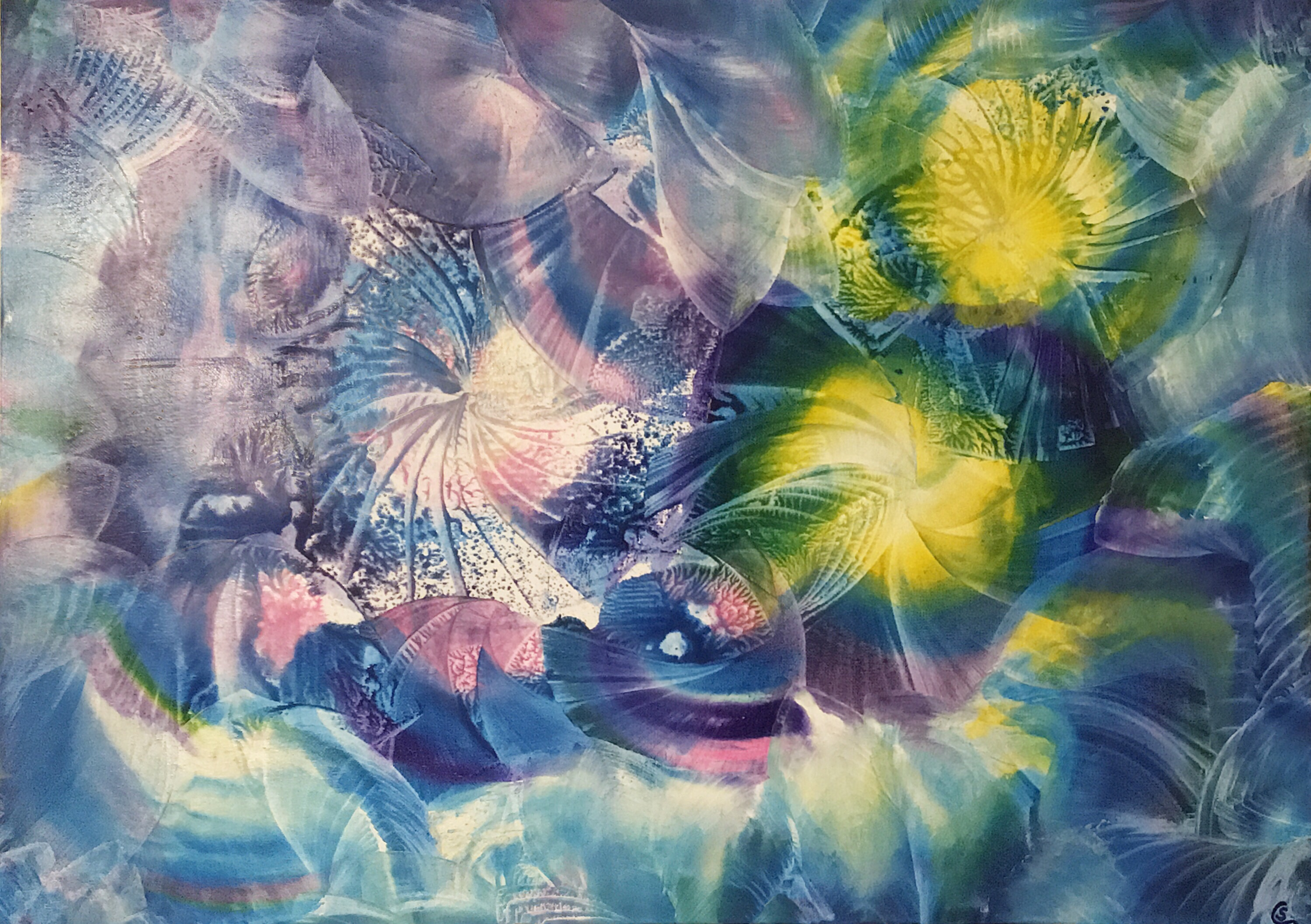 Tanz der Schneeflocken, dance of snowflakes, encaustic, 50x70 cm, canvas