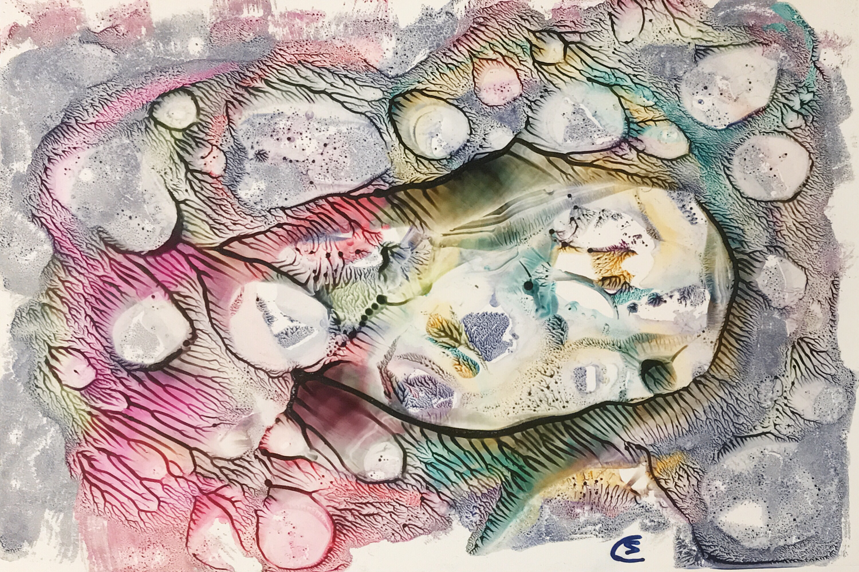 Coral reef / Korallenriff; encaustic on paper, 30x21