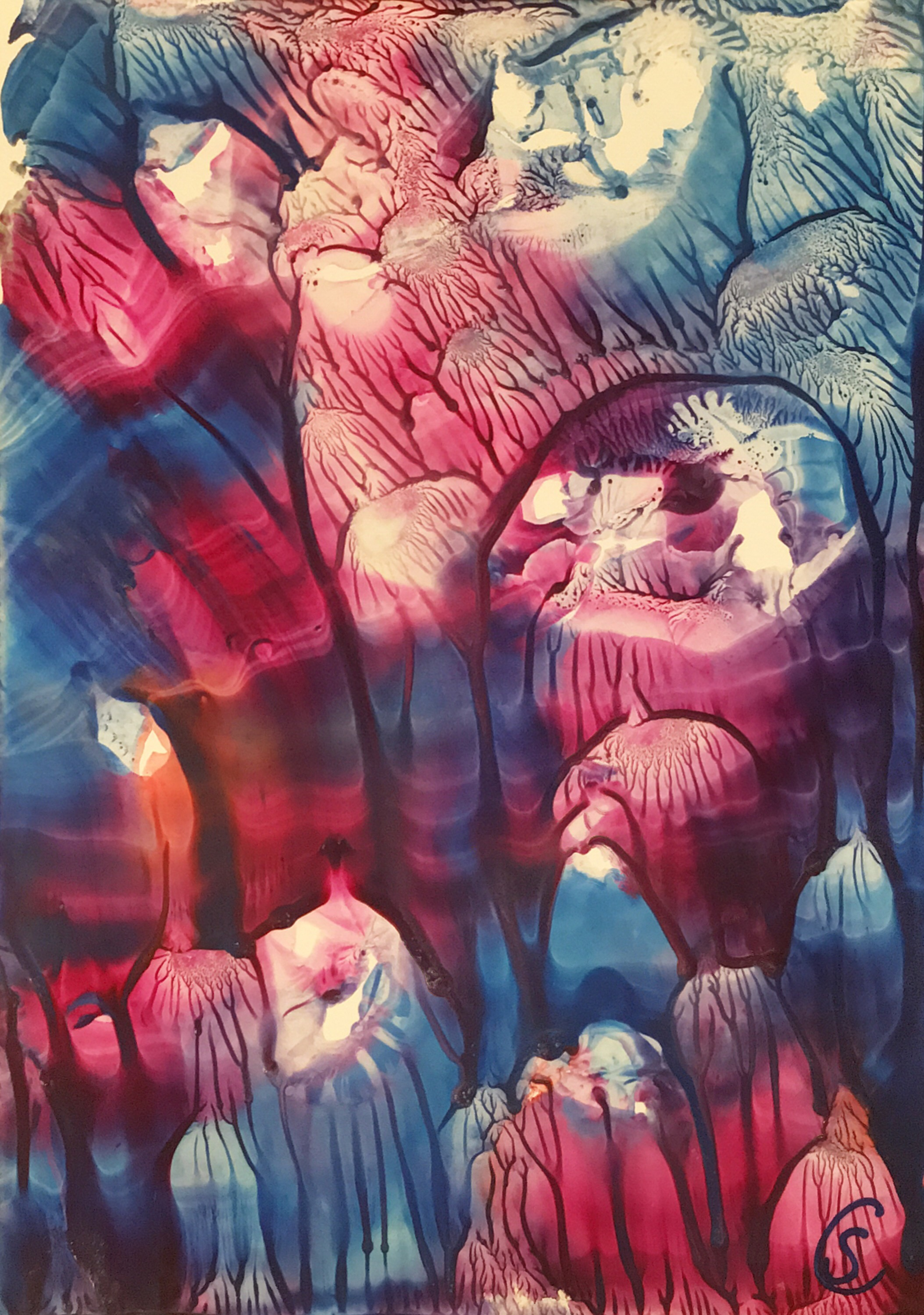 Jellyfish aquarium / Quallen im Aquarium; encaustic on paper, 21x15