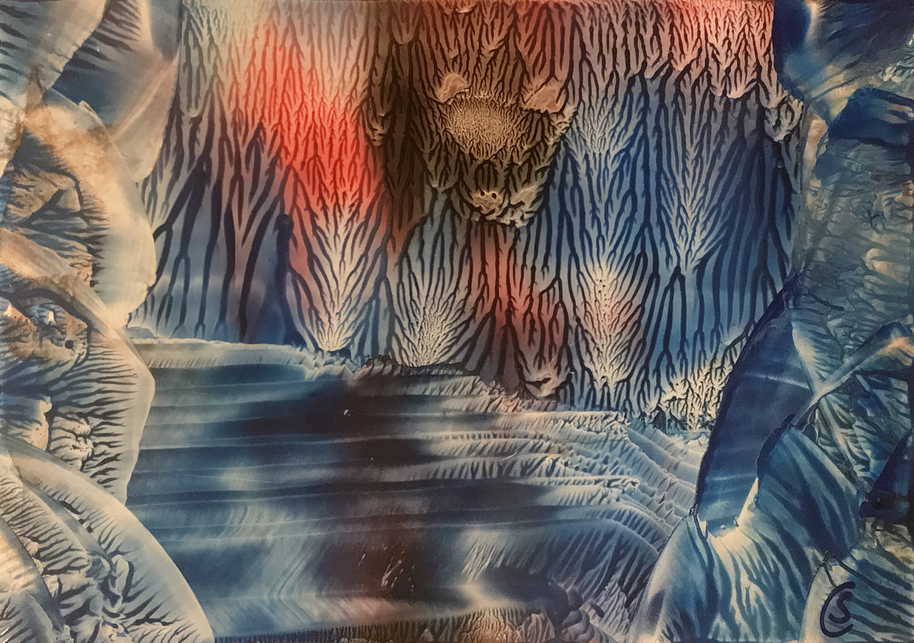 Blue Grotto / Blaue Grotte; encaustic on paper, 21x15