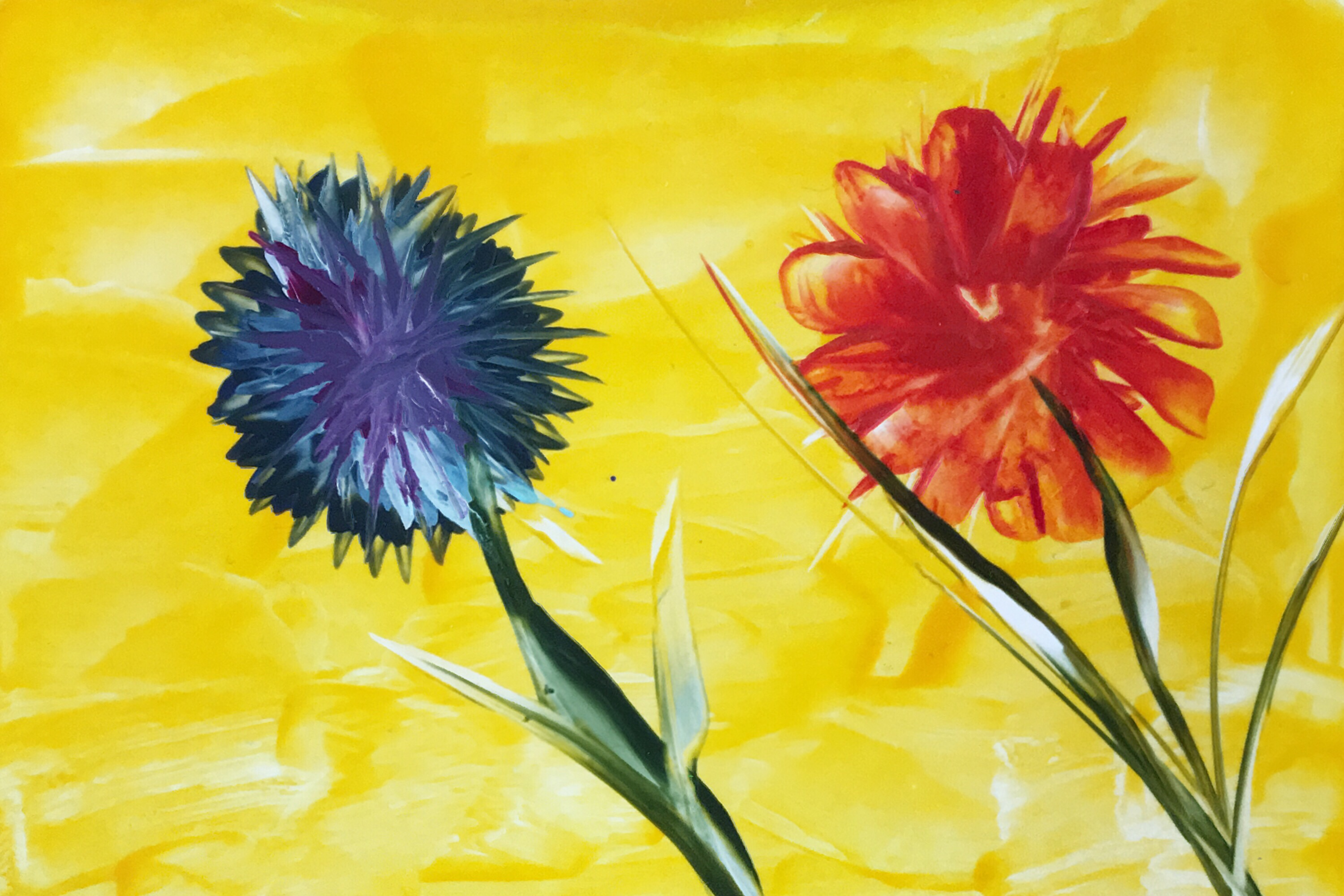 Blumen/Flowers, Encaustic on paper, 10.5x15