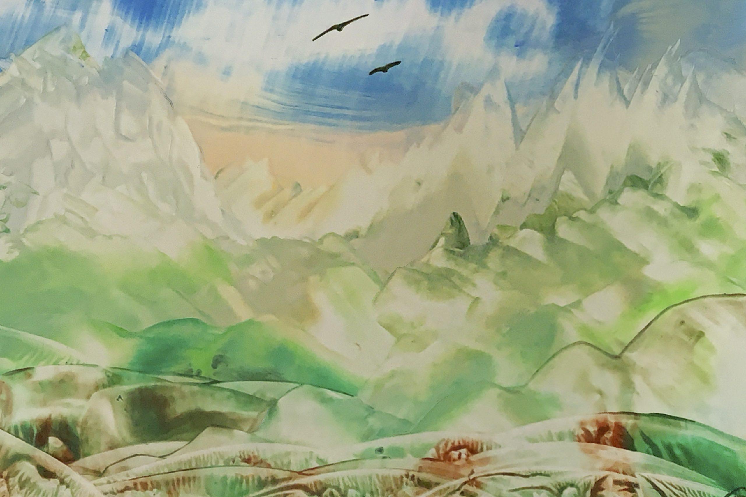 Gebirge im Herbst, Encaustic on paper, 15x21