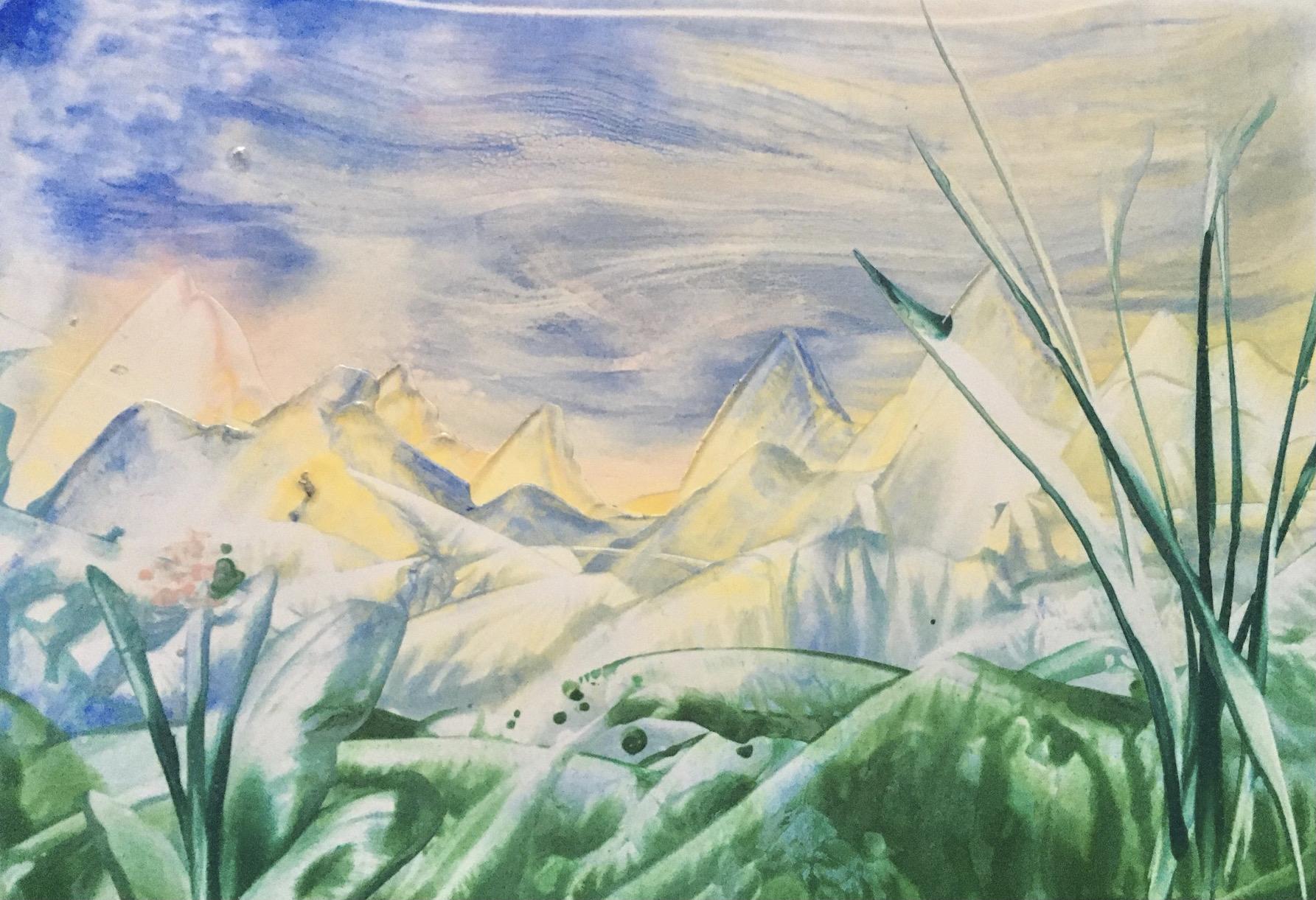 In den Bergen, Encaustic on paper, 15x10